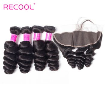 Recool Hair Loose Wave Bundles With Frontal Brazilian Virgin Hair Spring Curly Lace Frontal With 4 Bundles