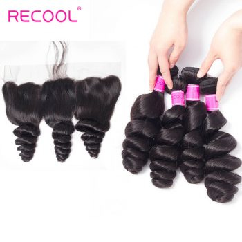 Recool Hair Loose Wave Bundles With Frontal Peruvian Virgin Hair Spring Curly Lace Frontal With 4 Bundles