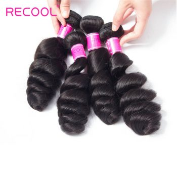 Recool Hair Peruvian Loose Wave Bundles Virgin Hair Weave 4 Bundles Spring Loose Curly Human Hair