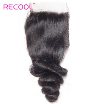 Recool Virgin Hair Loose Wave Human Hair 4*4 Lace Closure 1 PCS