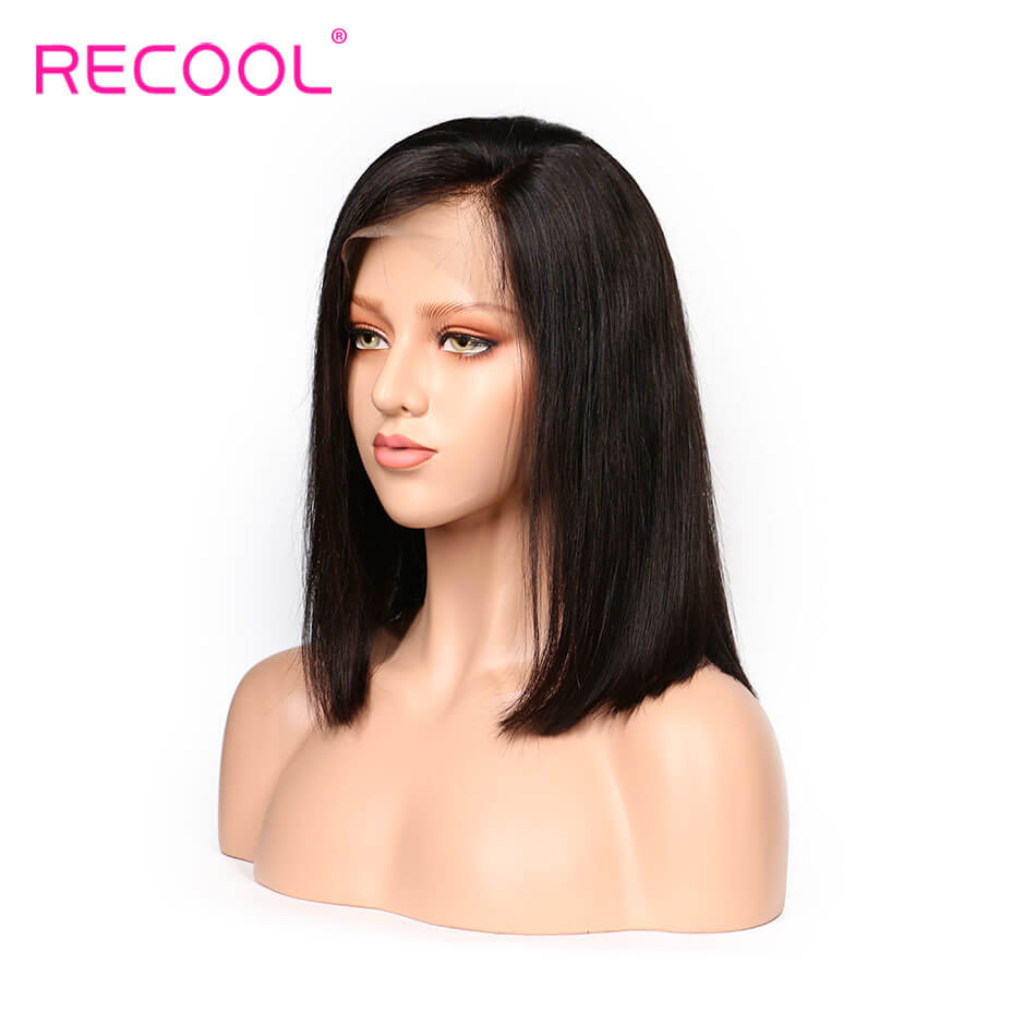 Recool Hair Brazilian Human Hair Short Bob Straight Wigs 180% Density For Black Women 13*6 Lace Frontal Wigs
