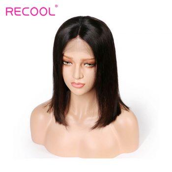 Recool Hair Brazilian Human Hair Short Bob Straight Wigs 180% Density For Black Women 13*6 Lace Frontal Wigs