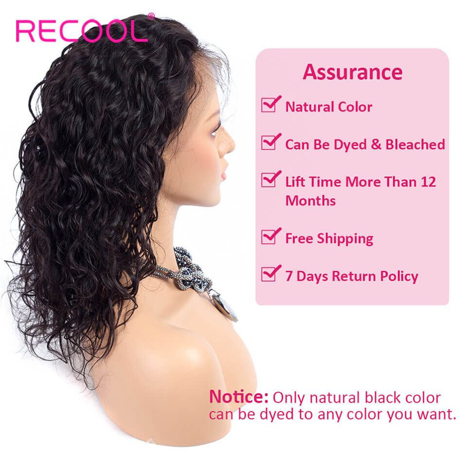 Recool Hair Water Wave Lace Front Wigs Natural Hairline 180% Density Human Hair Wigs With Baby Hair Bleached Knots Virgin Human Hair with Adjustable Straps