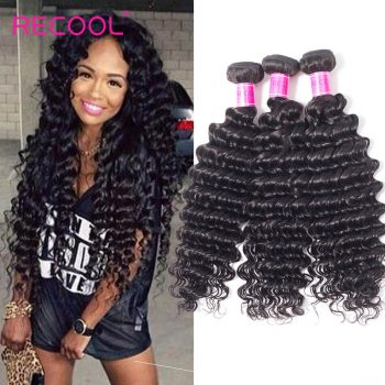 Recool Deep Wave Hair Malaysian Virgin Hair 4 Bundles 8A Grade Deep Curly Remy Human Hair Weave