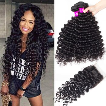 Malaysian Deep Wave Hair With Closure Recool Hair 4 Bundles Human Hair Weave With Closure Deep High Quality