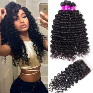 Recool Hair Malaysian Deep Wave Bundles With Closure 3 Bundles Human Hair Bundles With Closure