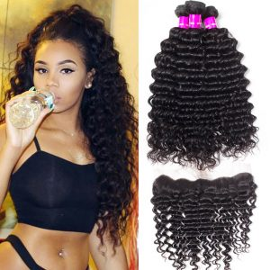8a Deep Curly Wave 4 Bundles with Lace Frontal Closure 13×4 Ear to Ear Frontal with Indian Deep Wave 4 Bundles 100% Unprocessed Human Hair With Frontal Closure