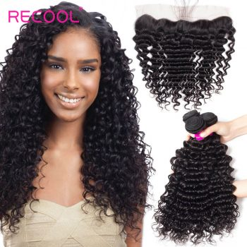 Recool Hair Peruvian Deep Wave Frontal With Bundles 100% Virgin Human Hair 4 Bundles With Frontal