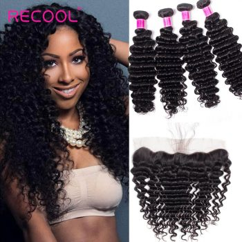 Malaysian Deep Wave Bundles With Frontal Recool Hair 4 Bundles Human Hair Bundles With Frontal Deep Wave Curly