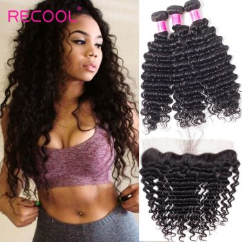 Brazilian Deep Wave and Frontal Recool Hair Deep Curly 3 Bundles With Frontal 100% Virgin Human Hair Sale