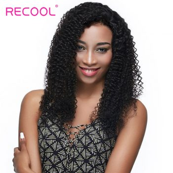 Recool Hair Brazilian Kinky Curly Virgin Hair Weave 4 Bundle Deals Remy Human Hair Extension 8A Grade