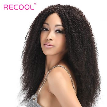 Recool Hair Malaysian Kinky Curly Virgin Hair Weave 4 Bundles Deals Remy Human Hair Extension 8A Grade