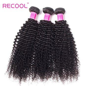 Kinky Curly Hair Weave 3 Bundles Recool Hair 8A Top Quality Virgin Brazilian Hair Bundles For Sale