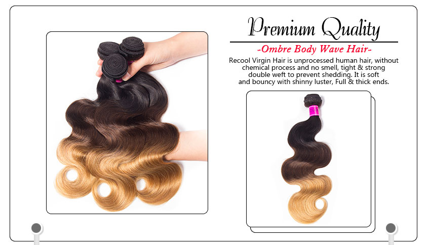 Ombre Brazilian Body Wave 3 Bundles Sale T1b427 Three Tone