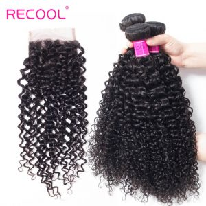 Recool Brazilian Curly Human Hair Weft With Closure 100% Virgin Human Hair 4 Bundles With Closure