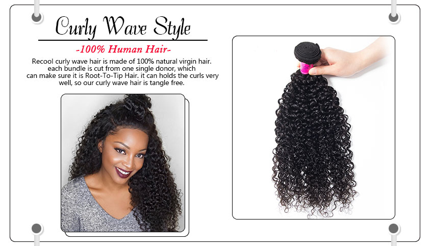 Malaysian Virgin Curly Human Weave Hair Weft Extensions Recool Hair
