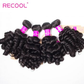 Recool Malaysian Virgin Hair Bouncy Curly Weave 4 Bundles Funmi Hair 100% Remy Human Hair Bundles