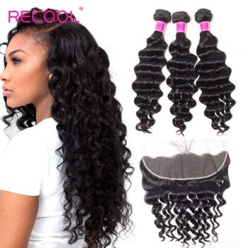 Malaysian Hair Weave 3 Bundles With Frontal Loose Deep Wave Lace Closure With Bundles Can Be Dyed And Bleached