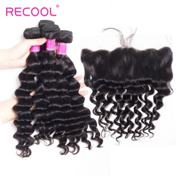 Virgin Hair 4 Bundles With Frontal Loose Deep Wave 8A Mink Brazilian Human Hair Bundles With Frontal