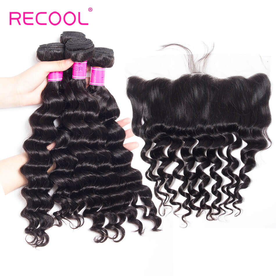 recool hair loose deep 4 bundles with frontal 1
