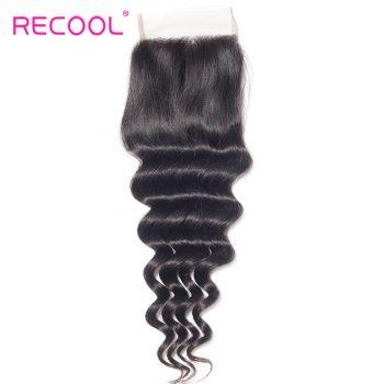 Recool Virgin Hair Loose Deep Wave Human Hair 4*4 Lace Closure 1 PCS