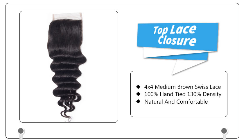 100% Virgin Human Hair loose deep Wave Bundles with Lace closure