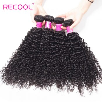 Recool Hair Malaysian Virgin Hair Curly Weave 4 Bundles Luxury Quality Remy Human Hair Extensions