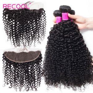 Recool Lace Frontal Closure With Bundles 3Pcs/Lot Curly Weave Human Hair Bundles Brazilian Virgin Human Hair Bundles With Frontal