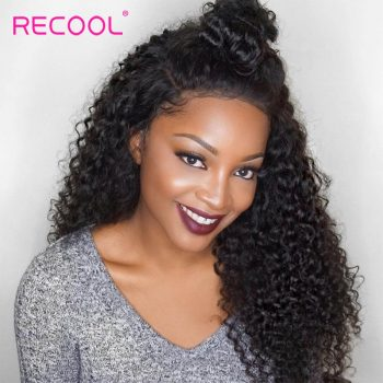 Recool Malaysian Curly Human Hair Bundles With Closure 100% Virgin Hair 4 Bundles With Closure