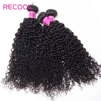 Recool Hair Indian Curly Hair Weave 3 Bundles 8A Virgin Hair Bundles Jerry Curly