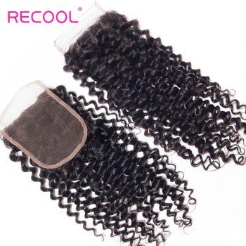 Recool Virgin Hair Curly Wave Human Hair 4*4 Lace Closure 1 PCS
