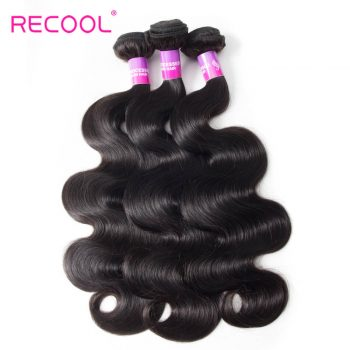 Recool Indian Hair Weave Bundles Body Wave 3 Bundles Virgin Human Hair 8A High Quality