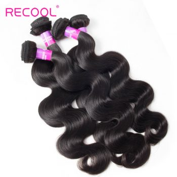 Recool Hair Indian Virgin Hair Body Wave 4 Bundles 8A High Quality Raw Indian Hair Weave Bundles