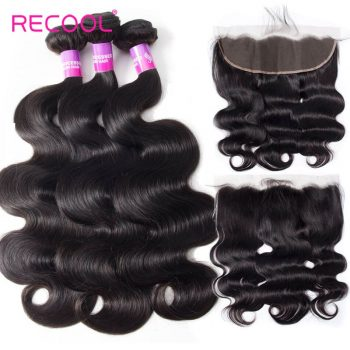 Recool Hair 8A Peruvian Virgin Body Wave With Frontal Best Human Hair Peruvian Hair 3 Bundles With Frontal Sale