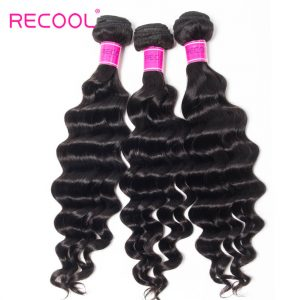 Recool Hair Loose Deep Wave 3 Bundles 8A Brazilian Hair Weave Bundles Wavy Hair 100% Virgin Human Hair