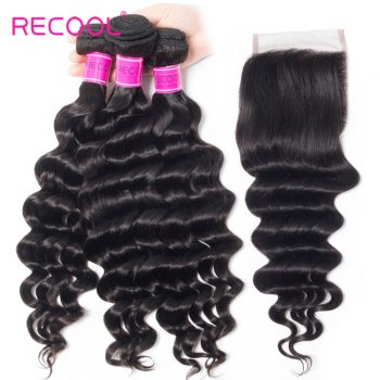 Virgin Hair 4 Bundles With Closure Loose Deep Wave 8A Human Hair Weave Bundles With Closure