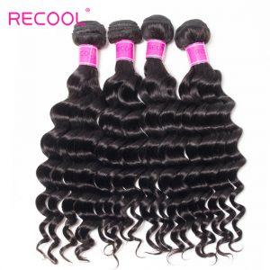 Recool Hair Loose Deep Wave Indian Virgin Hair 4 Bundles 100% Remy Human Hair Extension Bundles