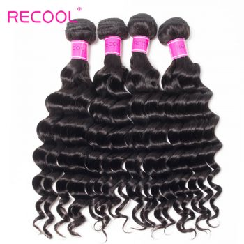 Recool Hair Loose Deep Wave Indian Virgin Hair 4 Bundles 100% Remy Human Hair Extension Bundles