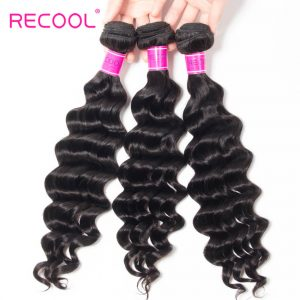 Recool Hair Loose Deep Wave Malaysian Virgin Hair 4 Bundles 100% Remy Human Hair Extension Bundles