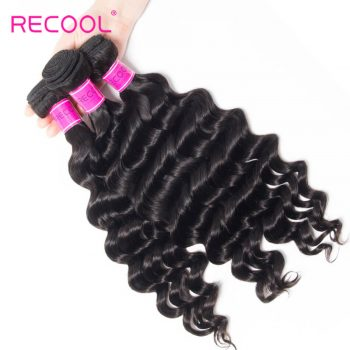 Recool Peruvian Hair Loose Deep Wave 3 Bundles Virgin Human Hair 8A Loose Deep Curly Hair Bundles