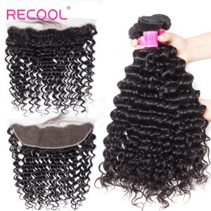 Recool Hair Human Hair Bundles With 13*4 Frontal Deep Wave Curly Deep Wave Human Hair 3 Bundles With Frontal