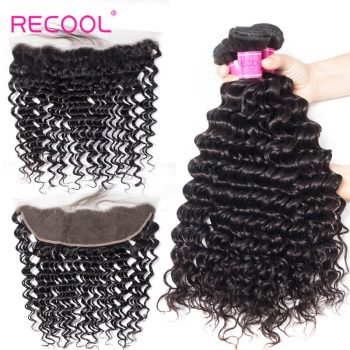 Recool Hair Human Hair Bundles With 13*4 Frontal Deep Wave Curly Deep Wave Human Hair 3 Bundles With Frontal