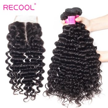 Deep Wave Bundles With Closure Recool Hair 3 Bundles With Closure 100% Virgin Human Hair