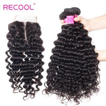 Deep Wave Bundles With Closure Recool Hair 3 Bundles With Closure 100% Virgin Human Hair
