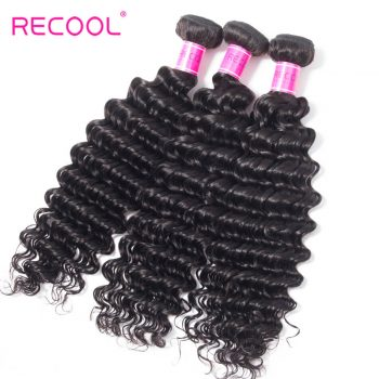 Recool Deep Wave Hair Virgin Hair 4 Bundles 8A Grade Deep Curly Remy Human Hair Weave