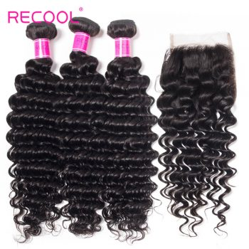 Peruvian Deep Wave Bundles With Closure Recool Hair 4 Bundles With Closure 100% Virgin Human Hair
