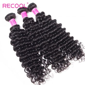 Hair Deep Wave Bundles 8A Grade Recool Hair 3 Bundles Deep Curly Human Hair Weave