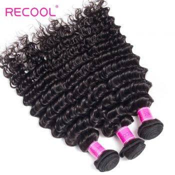 Hair Weave Bundles 3 Pcs/Lot Recool Hair Deep Wave Bundles Virgin Human Hair Bundles