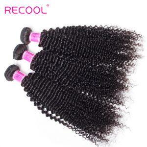 Recool Hair Kinky Curly Peruvian Hair 3 Bundles Deal Afro Kinky Curly 8A Virgin Human Hair Weave Extension