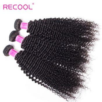 Recool Hair Kinky Curly Peruvian Hair 3 Bundles Deal Afro Kinky Curly 8A Virgin Human Hair Weave Extension